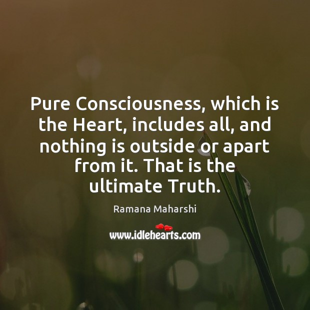Pure Consciousness, which is the Heart, includes all, and nothing is outside Image