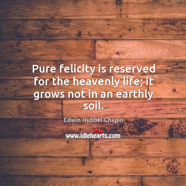 Pure felicity is reserved for the heavenly life; it grows not in an earthly soil. Image