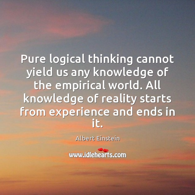 Image, Pure logical thinking cannot yield us any knowledge of the empirical world.