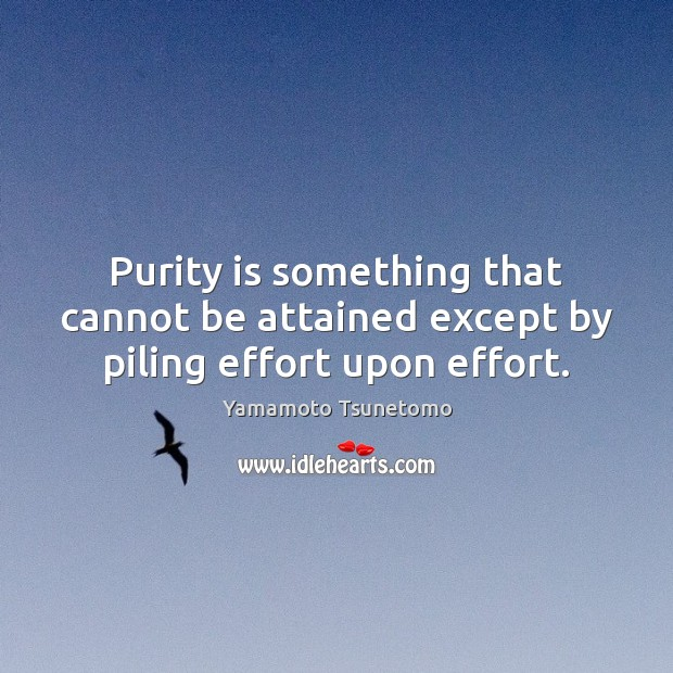 Purity is something that cannot be attained except by piling effort upon effort. Image