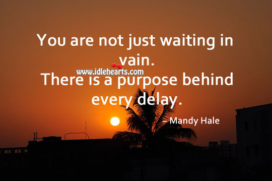 There is a purpose behind every delay. Mandy Hale Picture Quote