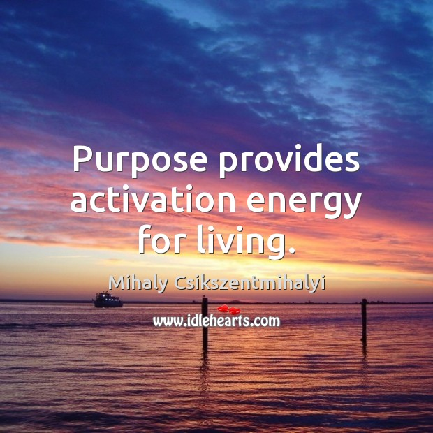 Purpose provides activation energy for living. Mihaly Csikszentmihalyi Picture Quote