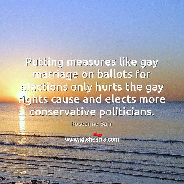 Putting measures like gay marriage on ballots for elections only hurts the Roseanne Barr Picture Quote