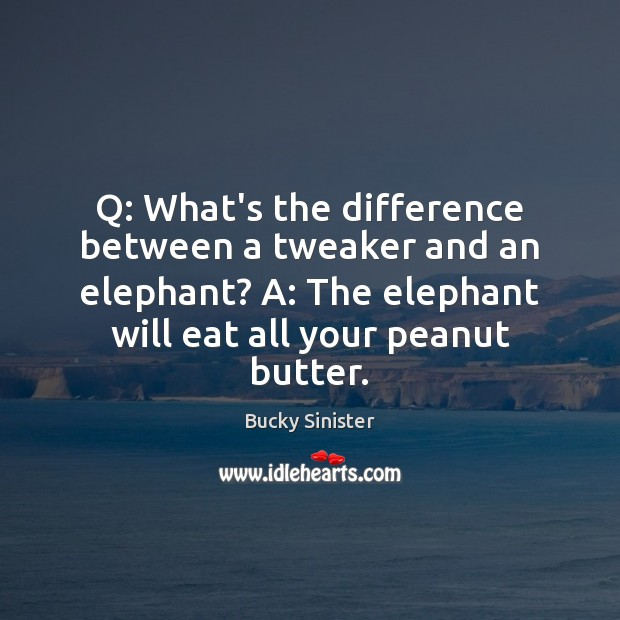 Image, Q: What's the difference between a tweaker and an elephant? A: The