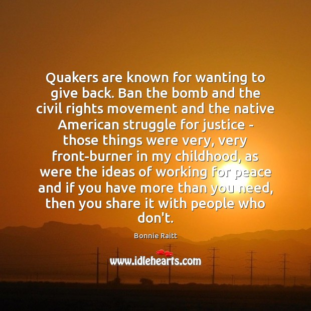 Quakers are known for wanting to give back. Ban the bomb and Image