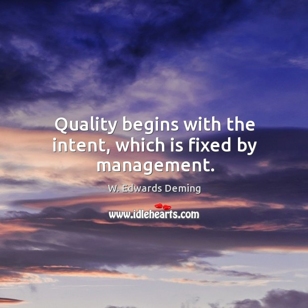 Image, Quality begins with the intent, which is fixed by management.