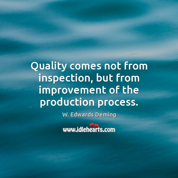 Quality comes not from inspection, but from improvement of the production process. W. Edwards Deming Picture Quote