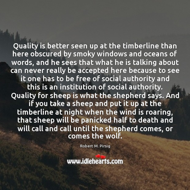 Quality is better seen up at the timberline than here obscured by Robert M. Pirsig Picture Quote