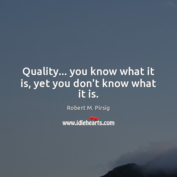 Quality… you know what it is, yet you don't know what it is. Robert M. Pirsig Picture Quote