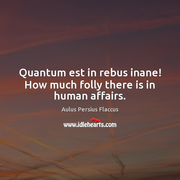 Image, Quantum est in rebus inane! How much folly there is in human affairs.