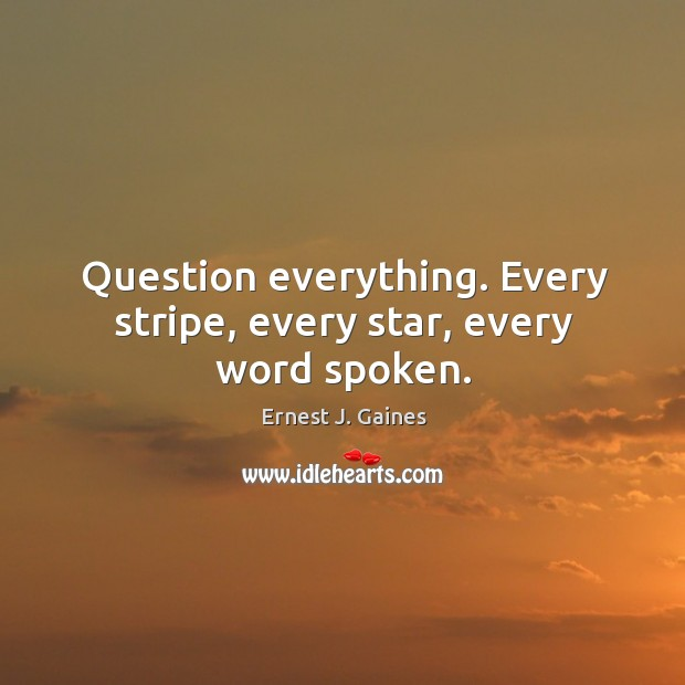 Question everything. Every stripe, every star, every word spoken. Image