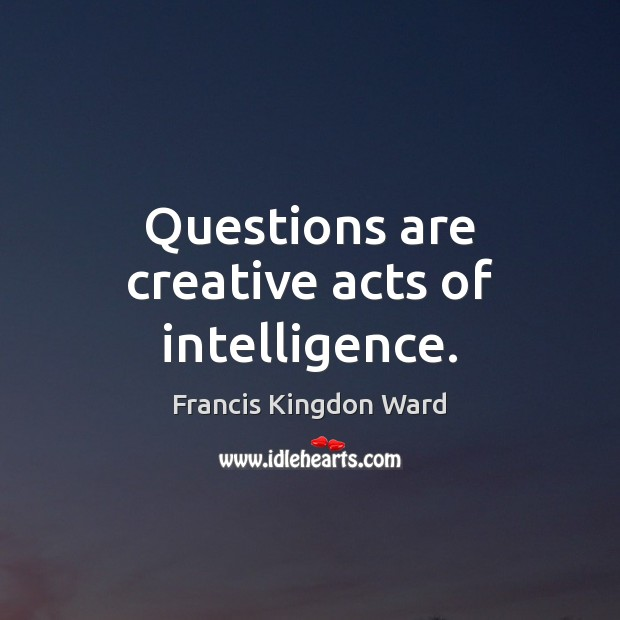 Questions are creative acts of intelligence. Image