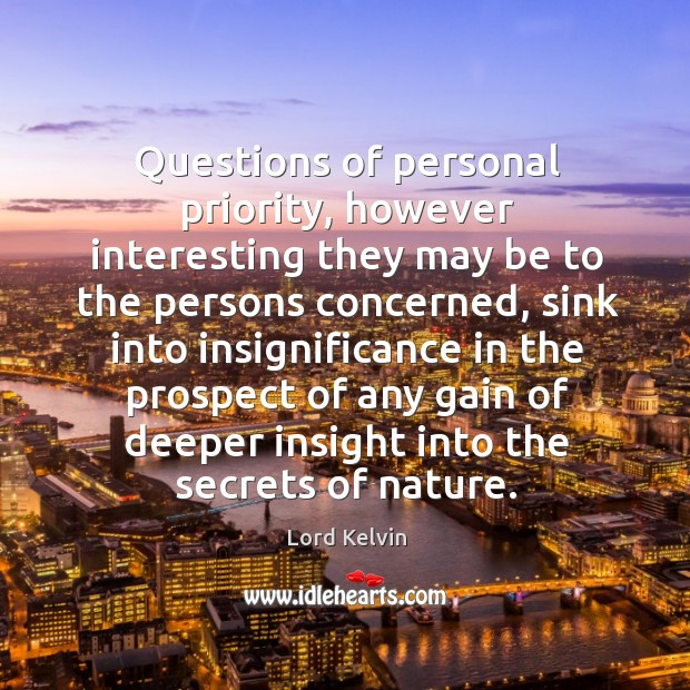 Questions of personal priority, however interesting they may be to the persons Lord Kelvin Picture Quote