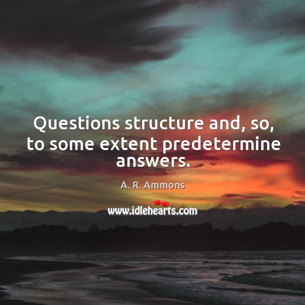 Questions structure and, so, to some extent predetermine answers. Image