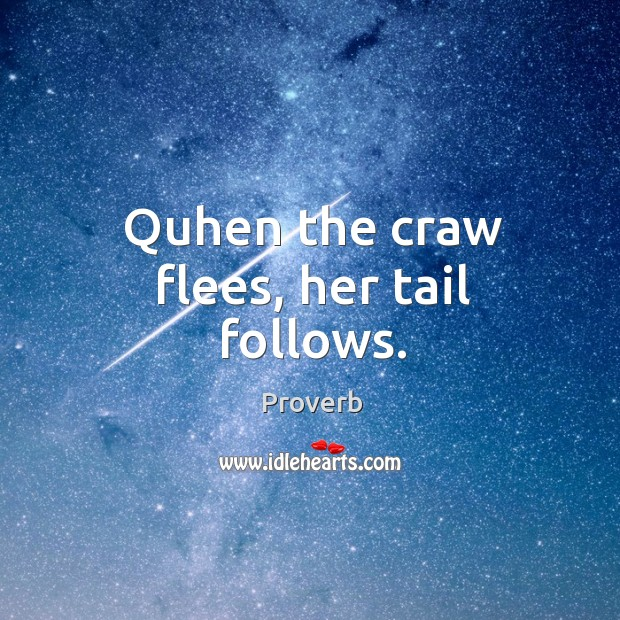 Quhen the craw flees, her tail follows. Image