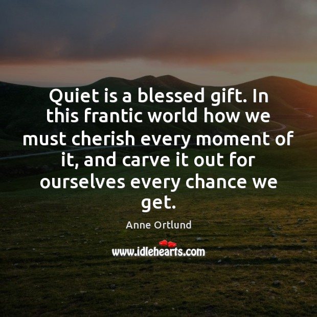 Quiet is a blessed gift. In this frantic world how we must Image