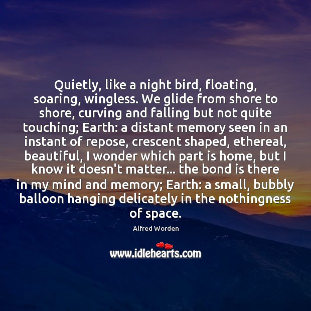 Image, Quietly, like a night bird, floating, soaring, wingless. We glide from shore