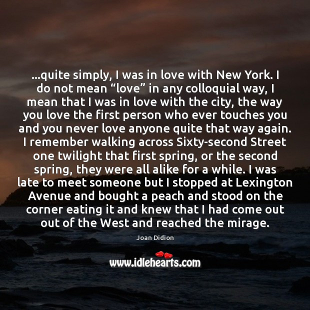 …quite simply, I was in love with New York. I do not Image
