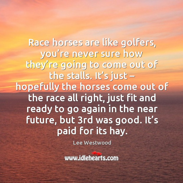 Race horses are like golfers, you're never sure how they're going to come out Lee Westwood Picture Quote