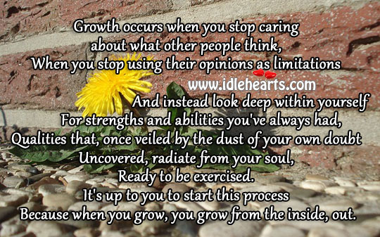 Growth occurs when you stop caring Image