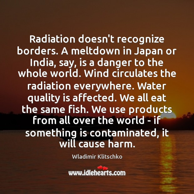Radiation doesn't recognize borders. A meltdown in Japan or India, say, is Image