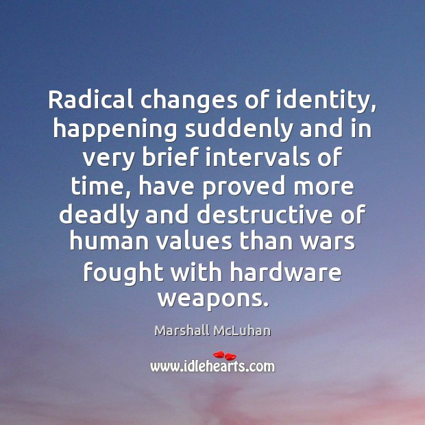 Radical changes of identity, happening suddenly and in very brief intervals of Image