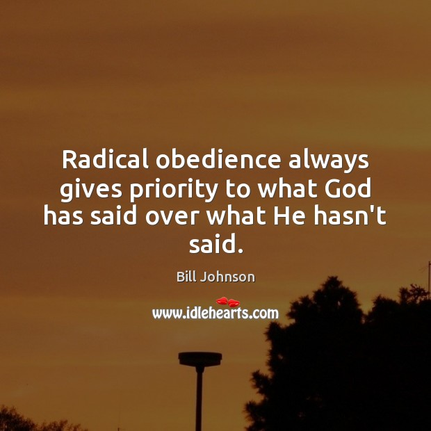 Radical obedience always gives priority to what God has said over what He hasn't said. Priority Quotes Image