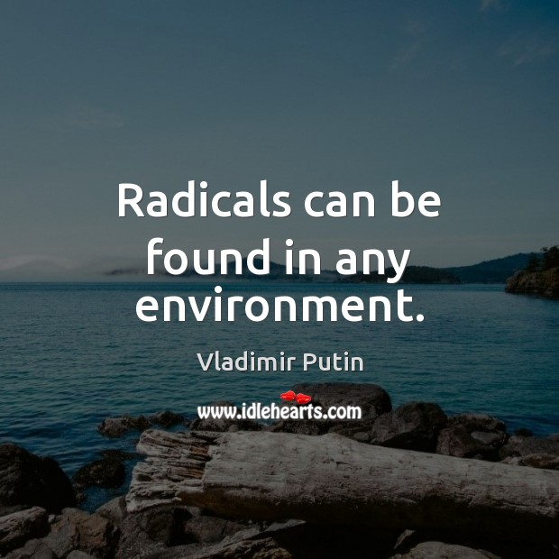 Radicals can be found in any environment. Vladimir Putin Picture Quote