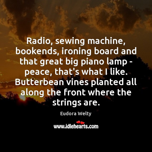 Radio, sewing machine, bookends, ironing board and that great big piano lamp Eudora Welty Picture Quote