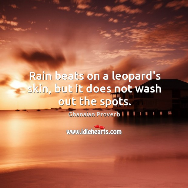 Rain beats on a leopard's skin, but it does not wash out the spots. Ghanaian Proverbs Image