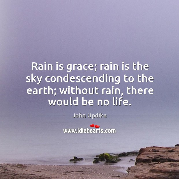 Image, Rain is grace; rain is the sky condescending to the earth; without rain, there would be no life.
