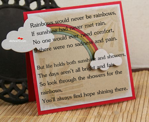 Rainbows Would Never Be Rainbows, If Sunshine Had Never Met…