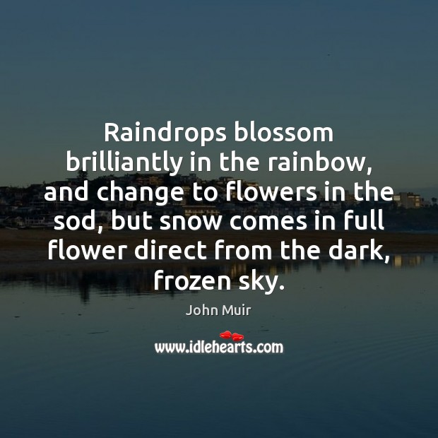 Raindrops blossom brilliantly in the rainbow, and change to flowers in the John Muir Picture Quote