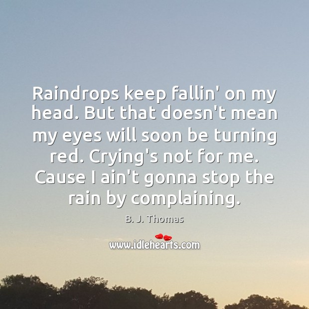 Image, Raindrops keep fallin' on my head. But that doesn't mean my eyes