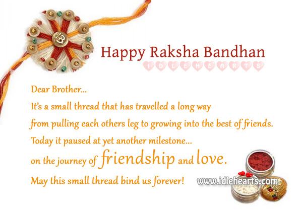 Happy raksha bandhan – celebrate the bond of love. Raksha Bandhan Quotes Image