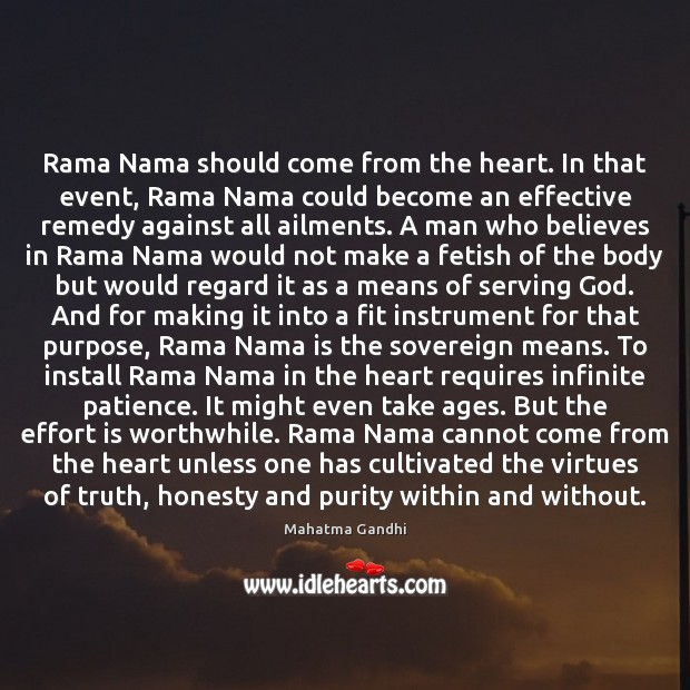 Image, Rama Nama should come from the heart. In that event, Rama Nama