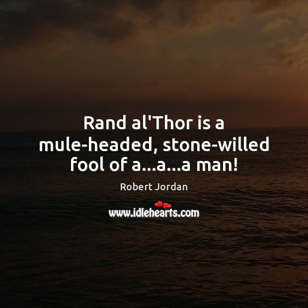 Rand al'Thor is a mule-headed, stone-willed fool of a…a…a man! Robert Jordan Picture Quote