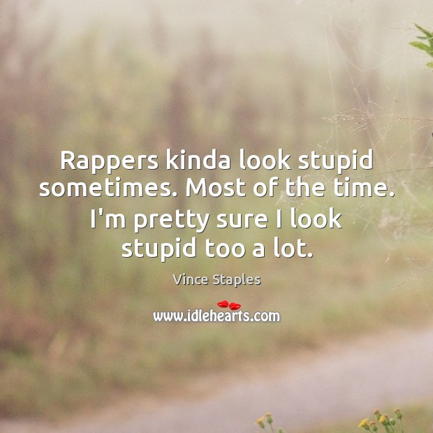 Rappers kinda look stupid sometimes. Most of the time. I'm pretty sure Image