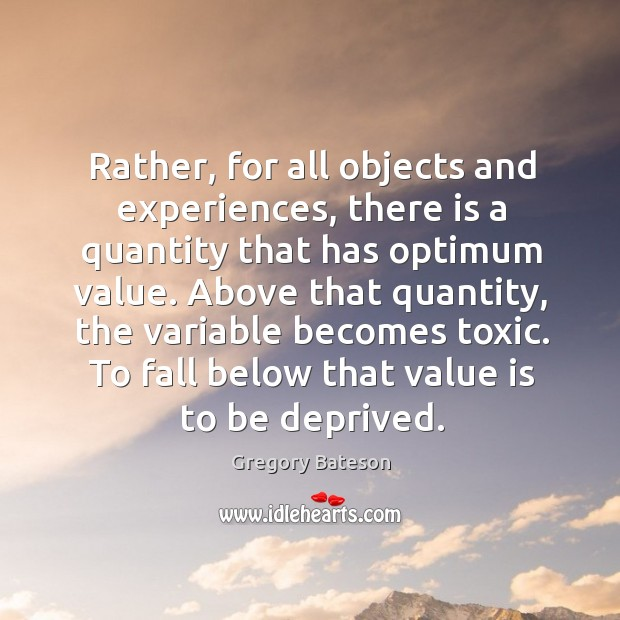 Image, Rather, for all objects and experiences, there is a quantity that has optimum value.