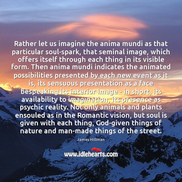 Rather let us imagine the anima mundi as that particular soul-spark, that Image