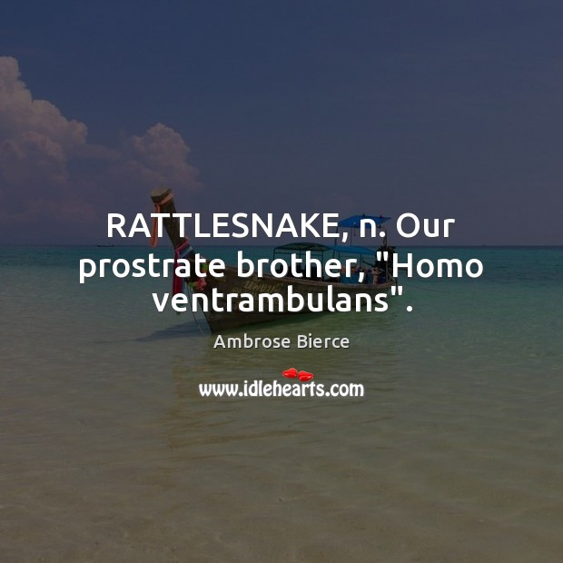"Image, RATTLESNAKE, n. Our prostrate brother, ""Homo ventrambulans""."