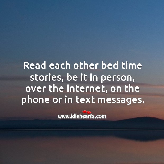 Image, Read each other bed time stories.