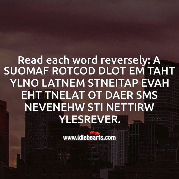 Read each word reversely Fool's Day Messages Image