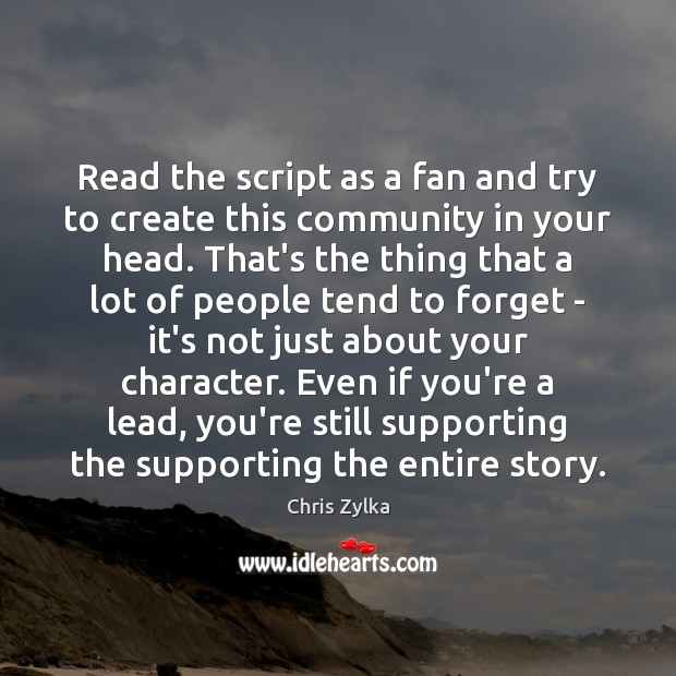 Read the script as a fan and try to create this community Image