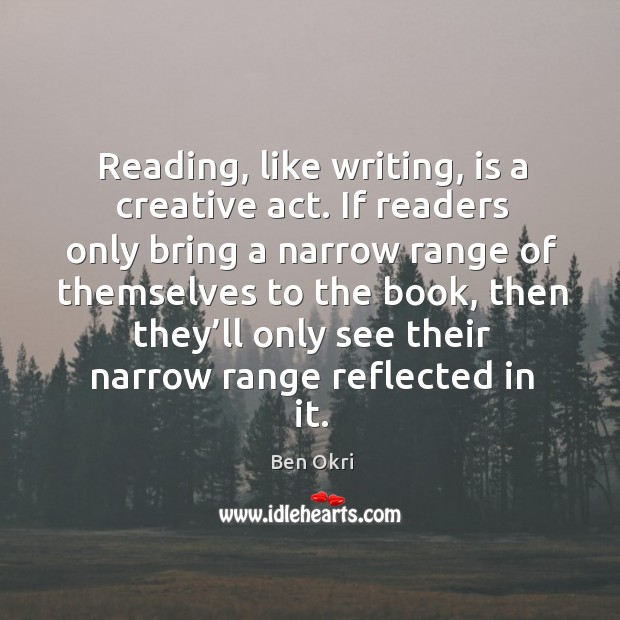 Reading, like writing, is a creative act. Ben Okri Picture Quote