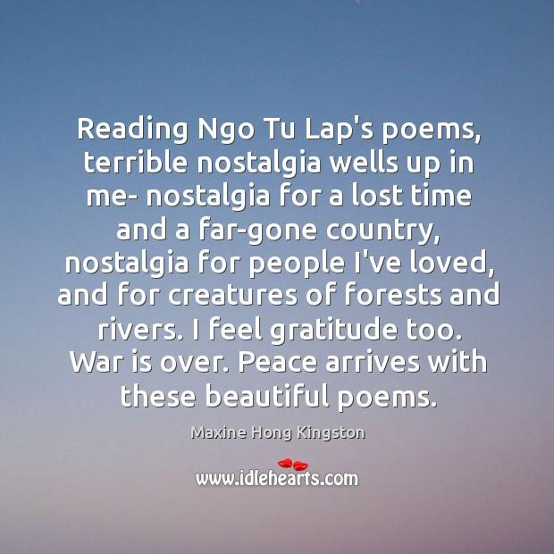 Reading Ngo Tu Lap's poems, terrible nostalgia wells up in me- nostalgia Image