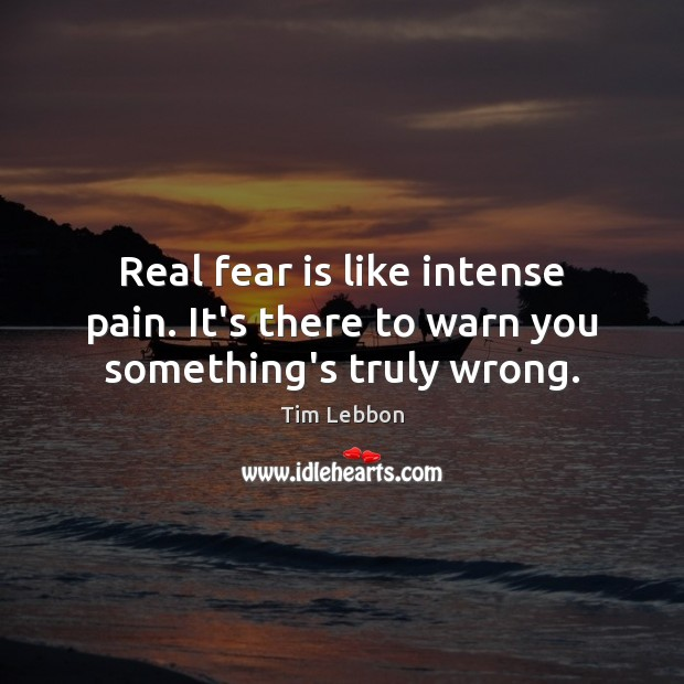 Real fear is like intense pain. It's there to warn you something's truly wrong. Fear Quotes Image