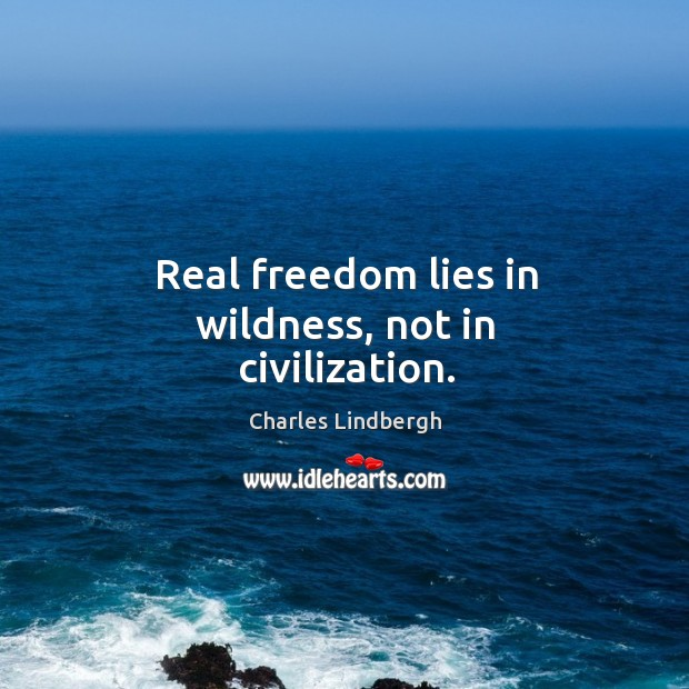 Image, Real freedom lies in wildness, not in civilization.
