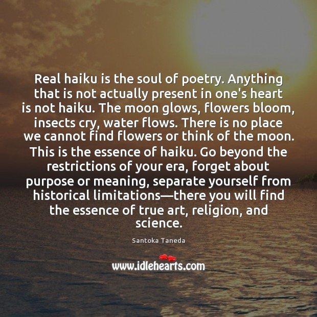 Real haiku is the soul of poetry. Anything that is not actually Image