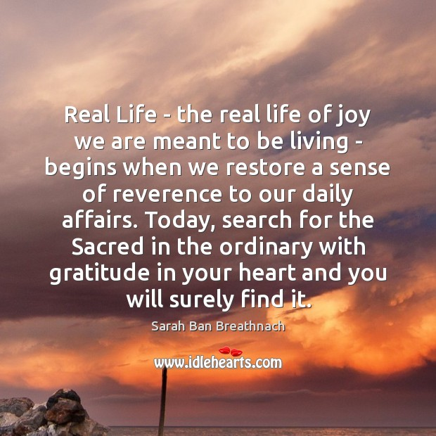 Real Life – the real life of joy we are meant to Image